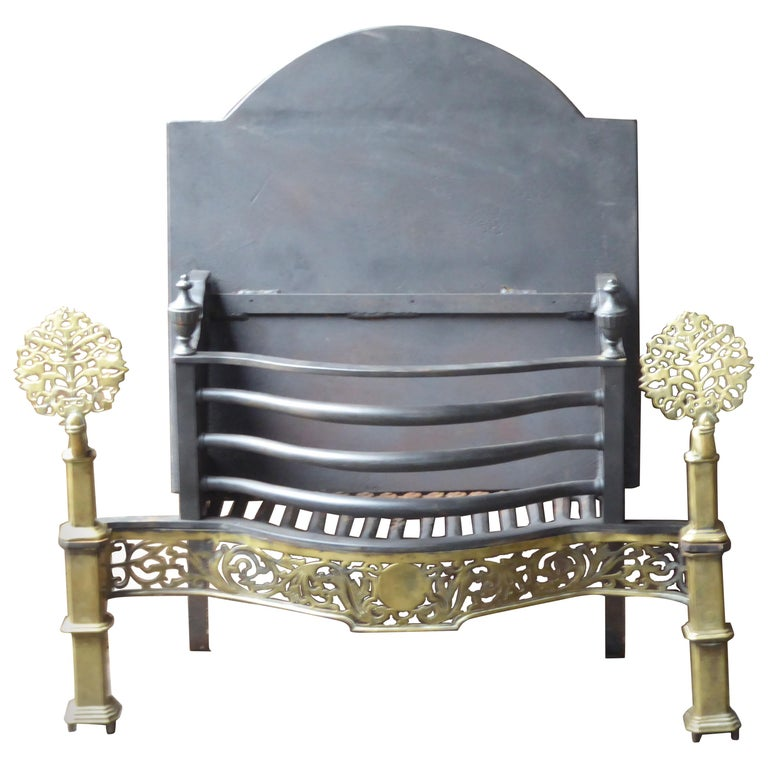 Exquisite English Art Nouveau Fireplace Grate, Fire Grate For Sale