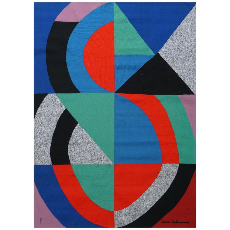 Hand-Signed Modern Tapestry by Sonia Delaunay, Grande Icône For Sale