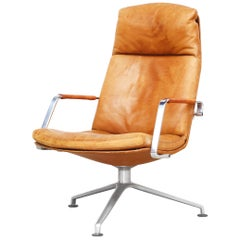 Cognac Leather Lounge Chair by Fabricius & Kastholm for Kill International 1960s