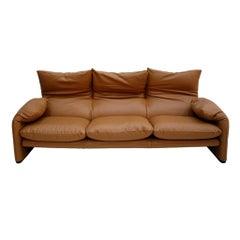 "Original Vico Magistretti for Cassina ""Maralunga"" Brown Leather Italian Sofa"