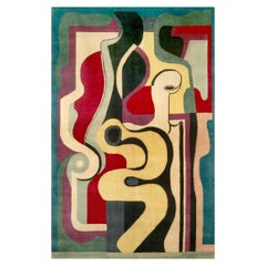 Hand Knotted Artistic Natural Silk Rug after Auguste Herbin, Design N.66