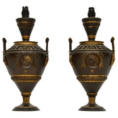 Pair of Antique Neoclassical Bronze Table Lamps