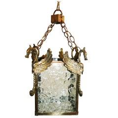 Midcentury Brass Lantern Chinoiserie Style, 1950s