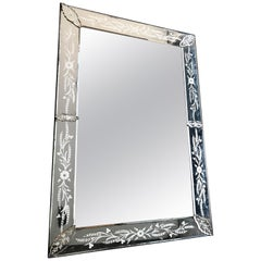 Large 1920s Venetian Mirror with Etched Mirrored Frame