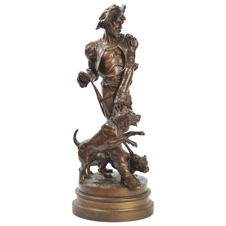 Bronze Houndsman, by Henri Honoré Plé For Sale