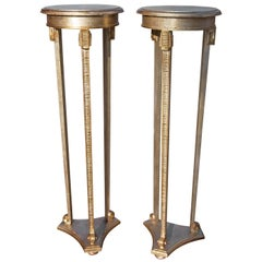 Pair of Italian Gilt Neoclassical Torchère Stands Mid-Century Modern