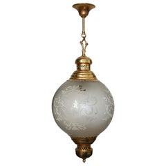 Midcentury Brass Lantern and Engraved Crystal Globe, Italy, 1950s