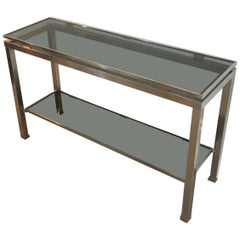 Brushed Steel Console Table with Blueish Glass Tops, by Guy Lefèvre for Mais