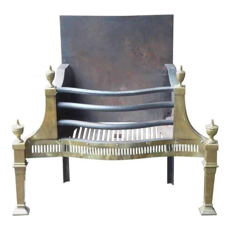 Large English Art Nouveau Fireplace Grate, Fire Grate For Sale