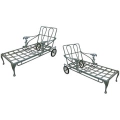 Pair of Vintage Adjustable Chaise Lounges