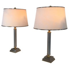 Pair of Brushed Steel and Brass Lamps with Reclining Shades by Guy Lefèvre