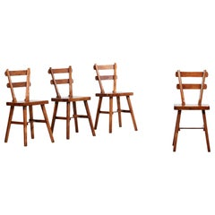Set of 4 Rustic Wooden Chairs, Artisans of Marolles Style