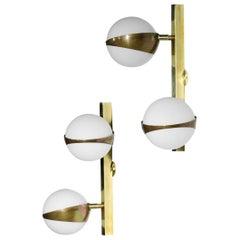 Pair of Modern Double Wall Lights Stilnovo Style