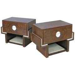 Pair of 1940s Rosewood and Marble Nightstands