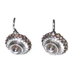 Pair of Victorian Circular Silver Earrings, Etruscan style, circa 1880