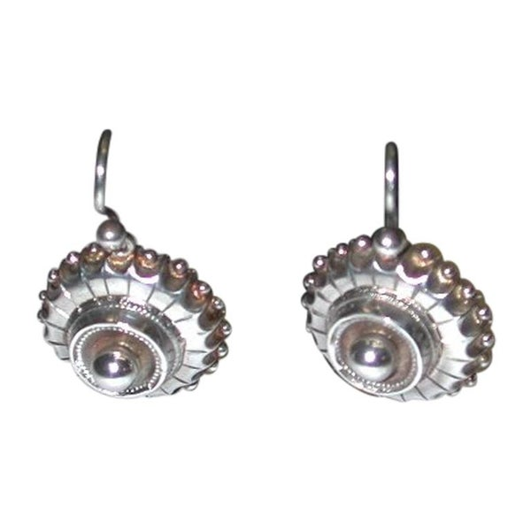 Pair of Victorian Circular Silver Earrings, Etruscan style, circa 1880