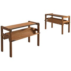 Jacques Adnet Pair of Magazine Stands in Oak