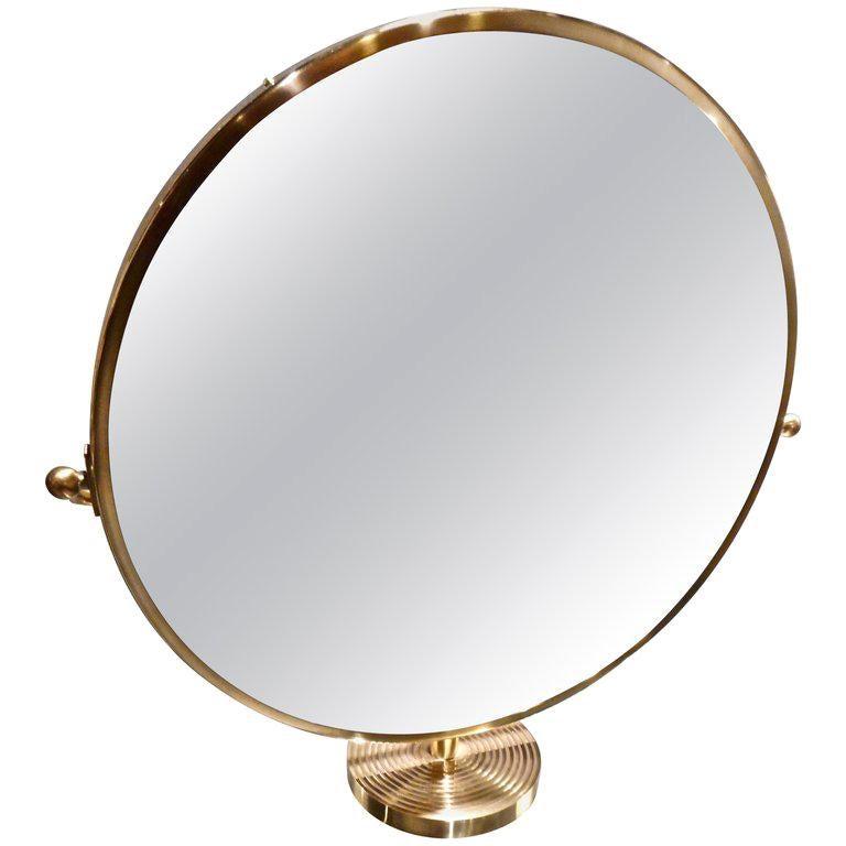 Josef Frank Brass Table Mirror, Stockholm, 1940 For Sale