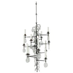 Wrought Iron and Glass Candle Chandelier by Erik Höglund