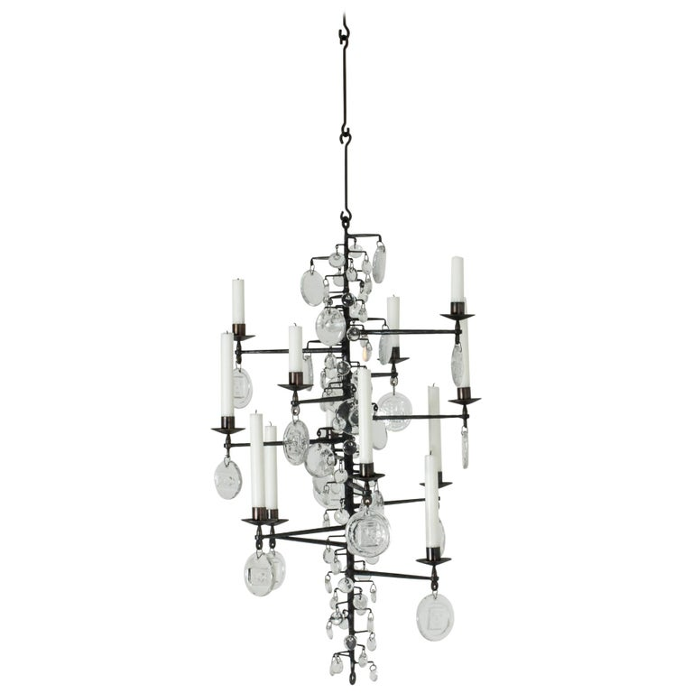 Wrought Iron and Glass Candle Chandelier by Erik Höglund For Sale