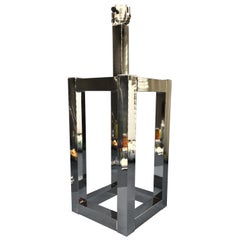 Vintage Mid-Century Modern Chrome Geometric Shaped Table Lamp