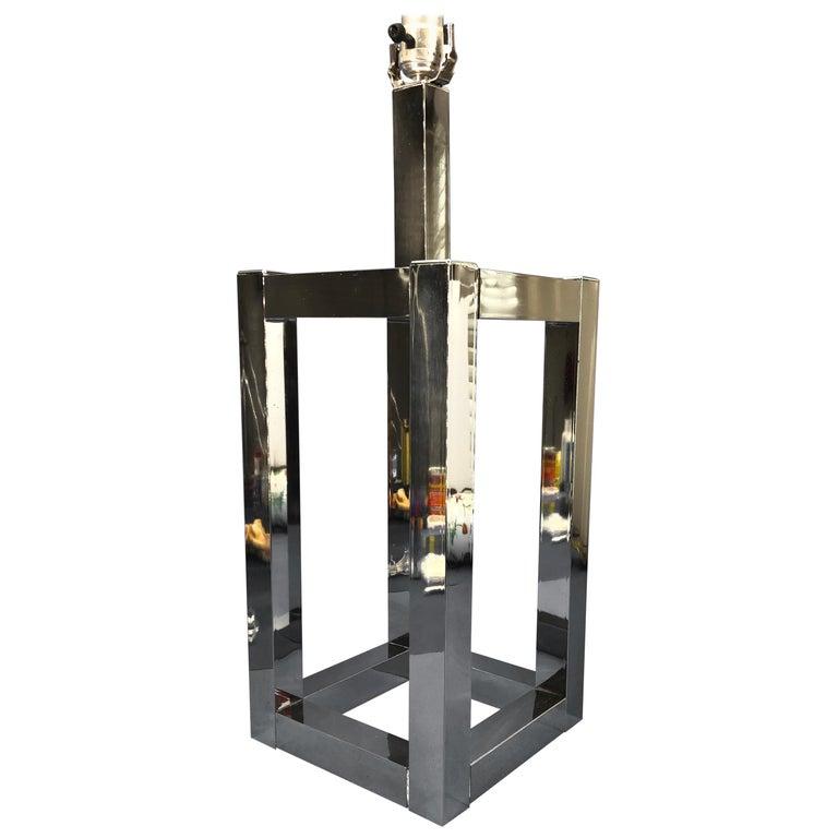 Vintage Mid-Century Modern Chrome Geometric Shaped Table Lamp For Sale