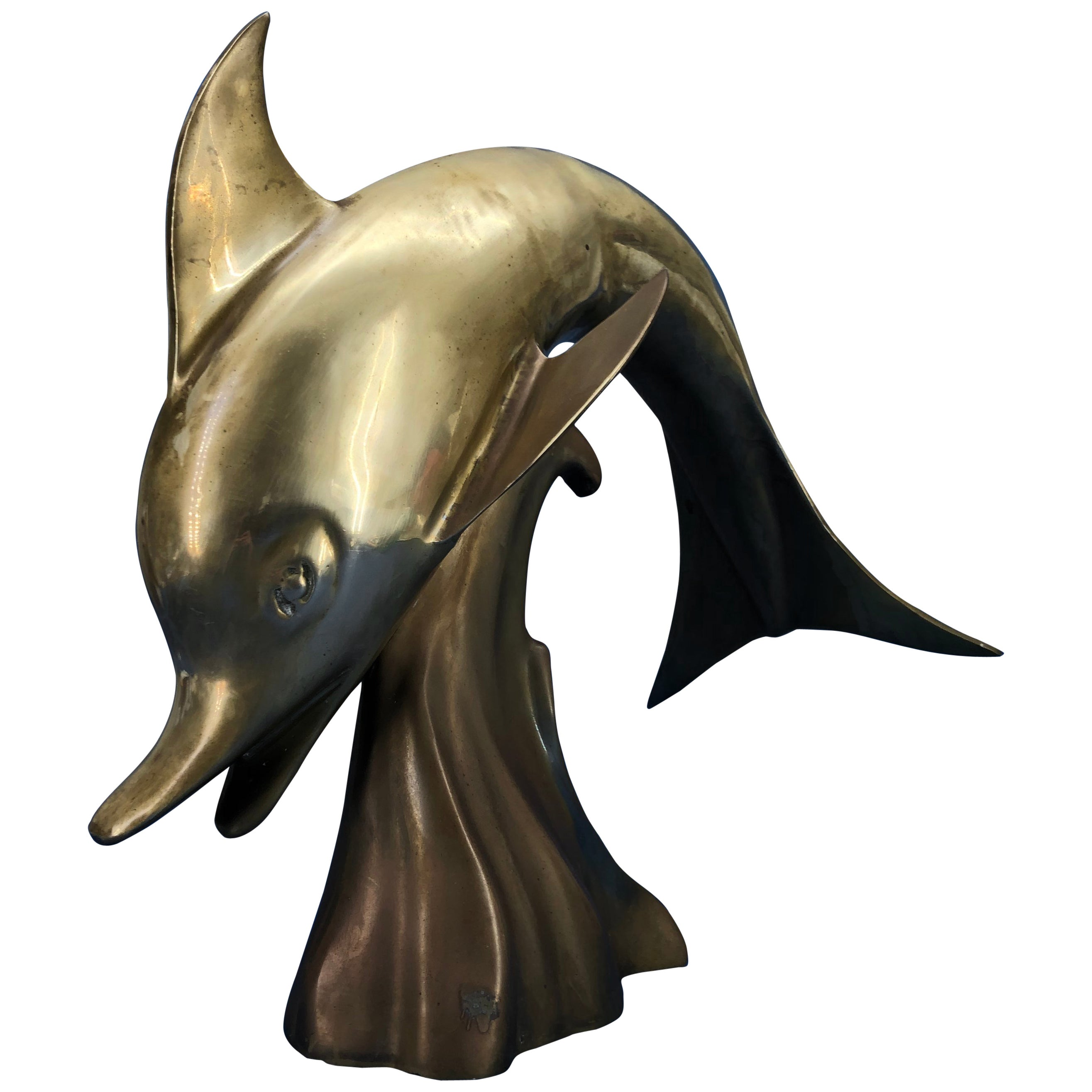 Large Midcentury Brass Sculpture Of A Jumping Dolphin