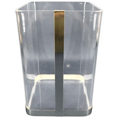 Vintage 1970s Lucite and Brass Paper Waste Basket