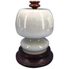 Italian Mid-Century Modern Opaline Shade Night Table Lamp