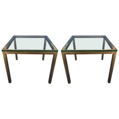 Pair of Brass Glass Top Side Tables, Attributed to Arturo Pani