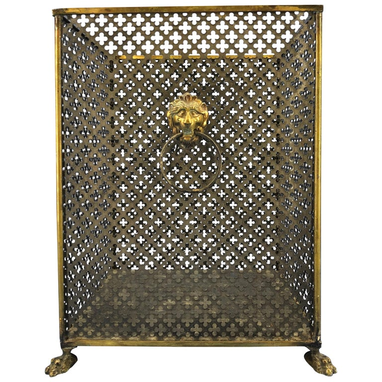 Italian Brass Lionhead Decorated Square Paper Waste Basket For Sale