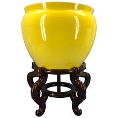 Large Bright Yellow Hand Painted Porcelain Jardinière Bowl on a Wooden Stand