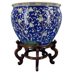 Large Chinese Blue Decorated Porcelain Jardinieres Planter on Wooden Stand