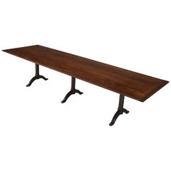 Antique Shaker Cherry Wood Trestle Dining Table, circa 1830