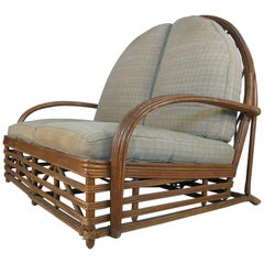 Rare Antique 1940s Arch Top Rattan Settee by Heywood Wakefield