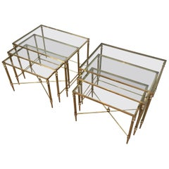 Maison Jansen, Pair of Neoclassical Brass Nesting Tables, French, circa 1940