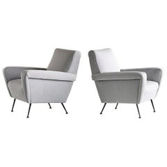 Pair of Gigi Radice Armchairs in Gray Kvadrat Fabric, Italy, 1950s