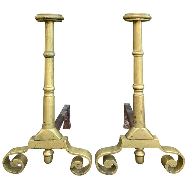Pair Late 19th-Early 20th Century Brass Andirons For Sale