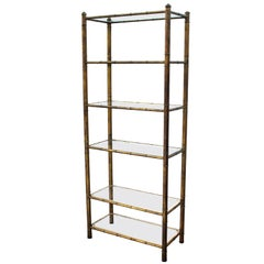 Mid-Century Modern Faux Bamboo Etagere with 4 Glass Shelves and 2 Lucite Shelves
