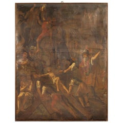 17th Century Oil on Canvas Italian Religious Painting Passion of Christ, 1680