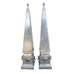 Pair of Pewter Obelisks, circa 1970s
