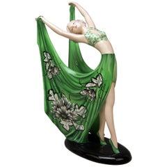 Goldscheider Vienna Lady Dancer Green Dress by Stefan Dakon Model 7195