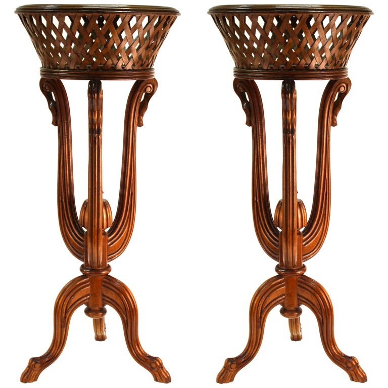 Victorian Revival Style Plant Stands in Wood For Sale