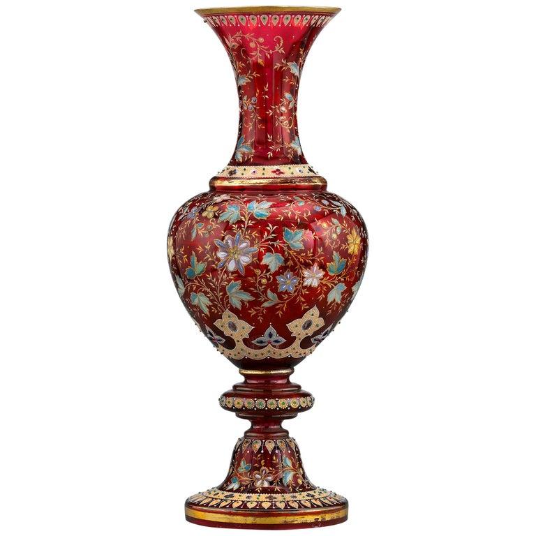 Moser Ruby Glass Vase For Sale