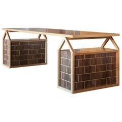 "Tavolo Casette, Table Made of Maple and Walnut with ""Brics"" Veneer"