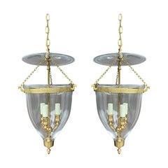 Pair of 20th Century Bell Jar Three-Light Lanterns with Greek Key Banding