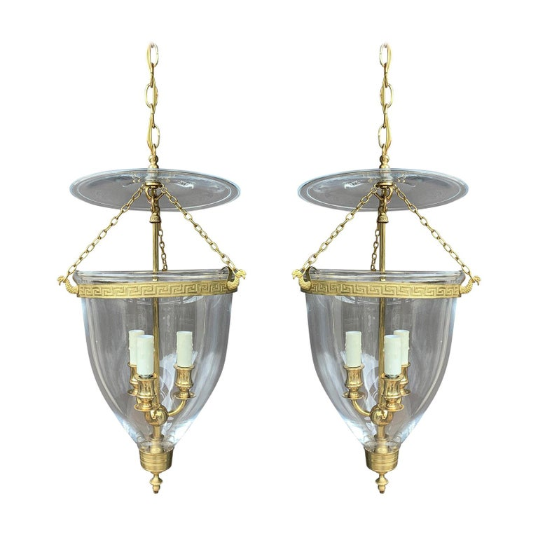 Pair of 20th Century Bell Jar Three-Light Lanterns with Greek Key Banding For Sale