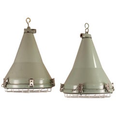 Pair of Ship's Nautical Painted Pendant Lights