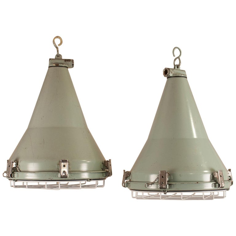 Pair of Ship's Nautical Painted Pendant Lights For Sale