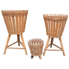 Group of Three Midcentury French Bamboo Planters